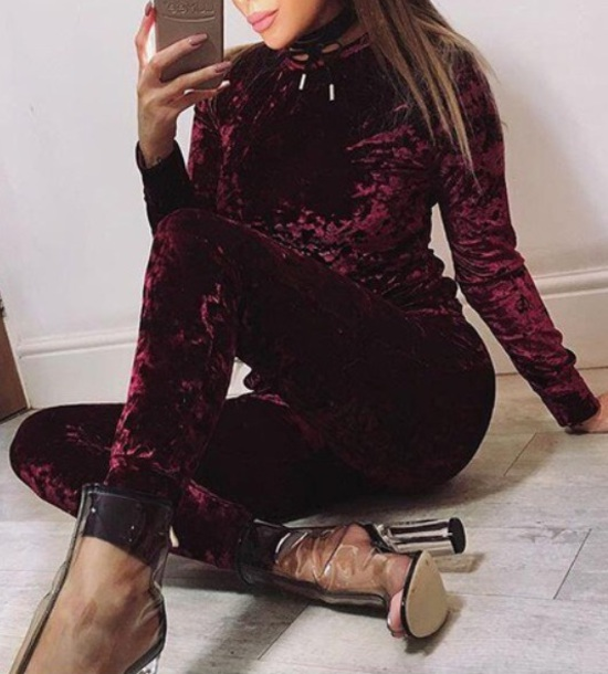 jumpsuit crushed velvet bodycon jumpsuit velvet burgundy dress burgundy two-piece teo pieces sweatshirt sweats