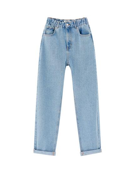 Mom jeans with elastic waistband - pull&bear