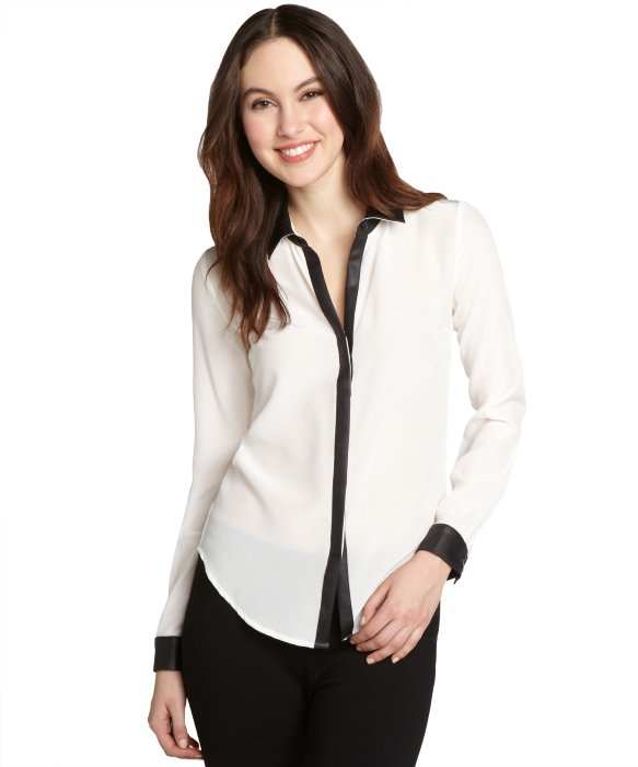 Gemma white silk and black faux leather long sleeve blouse