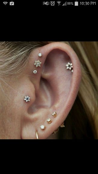 stud jewels piercing earrings tragus helix forward helix floral cartilage