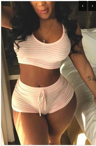 jumpsuit 2 piece short set stripes shorts crop tops pink white