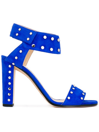 metal women 100 sandals leather blue suede shoes