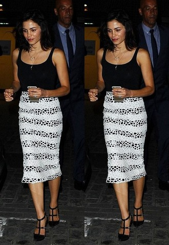 skirt top midi skirt jenna dewan pumps summer outfits pencil skirt striped skirt shoes