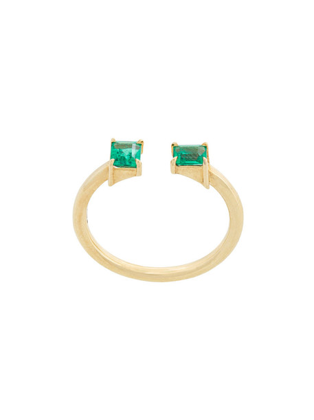 open women ring gold green yellow jewels