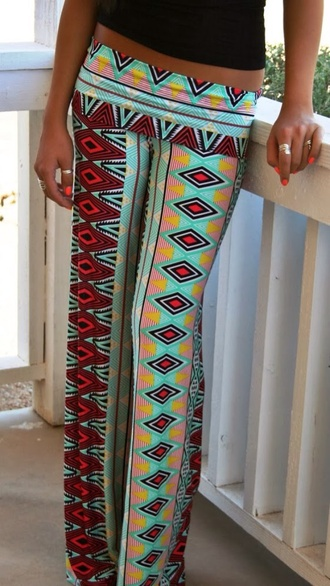 pants teal palazzo pants red lime sunday