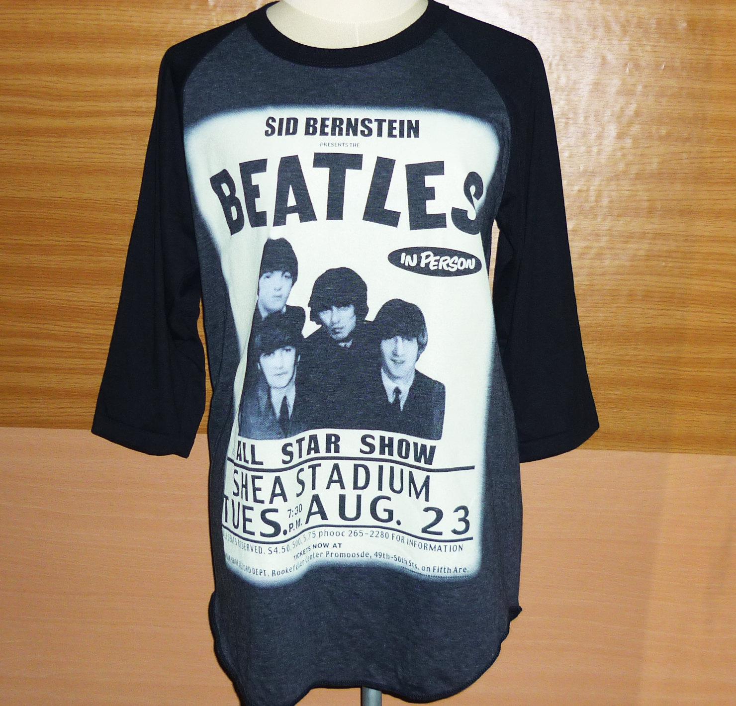The beatles face pop rock t shirt raglan tee unisex billboard music men women long sleeve baseball shirt tshirt gray black size m l