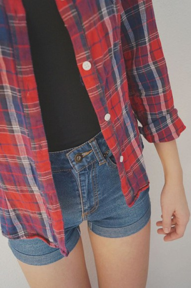 lovely pepa shorts obsessed with plaid the jacket , plaid red shirt and quote shirt tanktop black