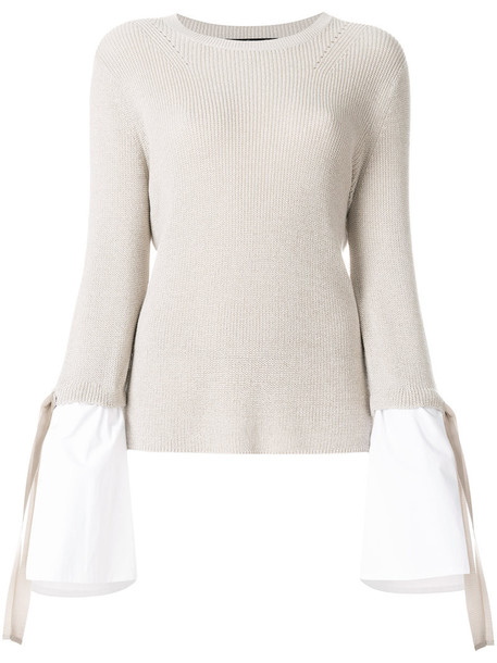 Luisa Cerano top knitted top women layered nude cotton