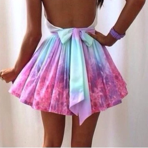 dress galaxy galaxy dress purple pink pastel blue bow pretty no back girl blue dress purple dress pink dress