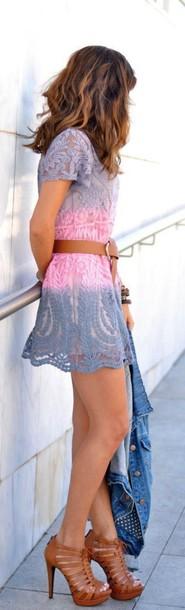 dress crochet two-piece ombre dress