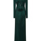 Long sleeve shiny ribs dress in forest by mugler | moda operandi