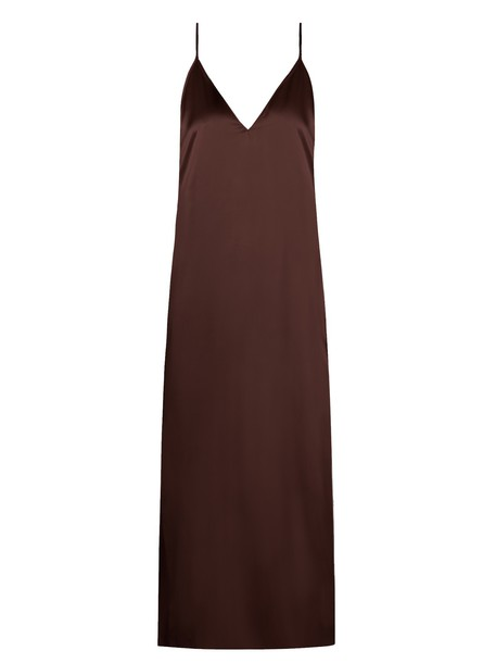 Raey dress slip dress midi silk satin burgundy