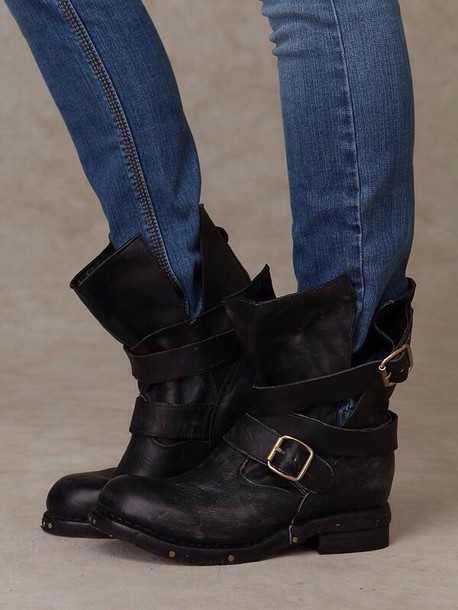 Shoes: booties, ankle boots, pinterest, biker boots, edgy, black ...