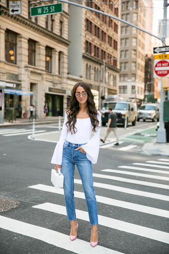 something navy blogger top jeans shoes bag sunglasses bell sleeves pumps white top tumblr denim blue jeans pointed toe pumps white bag boxed bag
