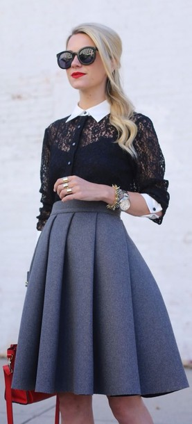 skirt vintage pleated skirt blue shirt black and white lace cute