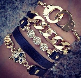 jewels jewelry bracelets gold gold bracelet handcuffs black
