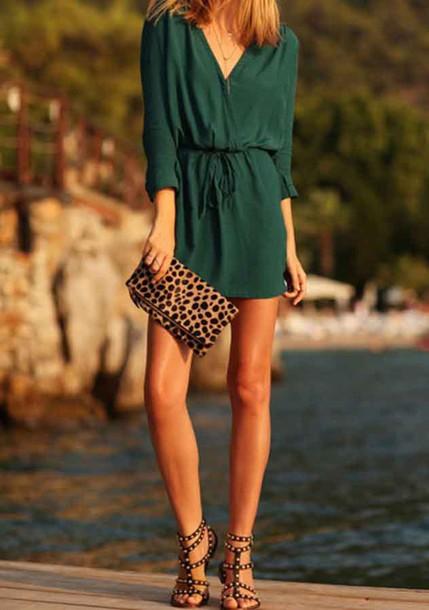 Jumpsuit Green Dress Green Cardigan Green Cascade Casual Dress