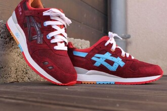 shoes asics asics gel lyte iii asics gel lyte 3 red bordeaux style girl sneakers sneaker