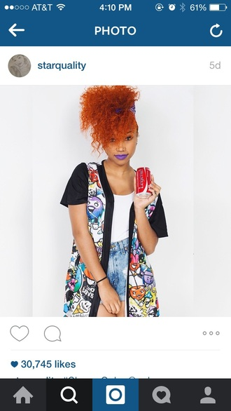 jacket denim shorts red blue orange zonnique omg girlz cartoon