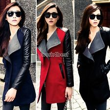 Fashion Women Long Warm PU Leather Sleeve Jacket coat Parka Trench Windbreaker | eBay