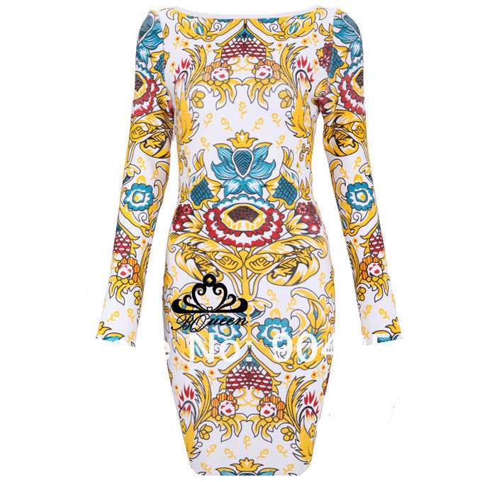 ON SALE! Wholesale Women Celebrity Dresses Beyonce Long Sleeve Print Floral Design Bandage Dress Knitted Evening Prom Dress-in Apparel & Accessories on Aliexpress.com