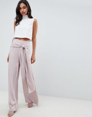 ASOS DESIGN Occasion Oversized Tie Front Wide Leg Trousers at asos.com