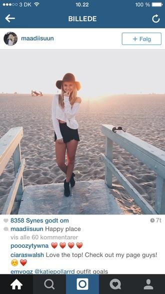 blouse hat shorts shirt shoes