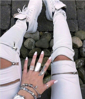 leggings zefinka pants leather pants skinny pants zipped pants white beige leather leggings style trendy jewels boho jewelry shoes nike sneakers clothes tumblr clothes tumblr girl