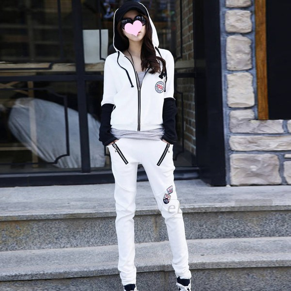 Women tracksuit hoodie sweatshirt top zipper batwing sleeve pants sports s m l