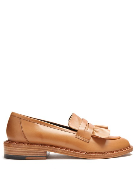 ruffle loafers leather tan shoes