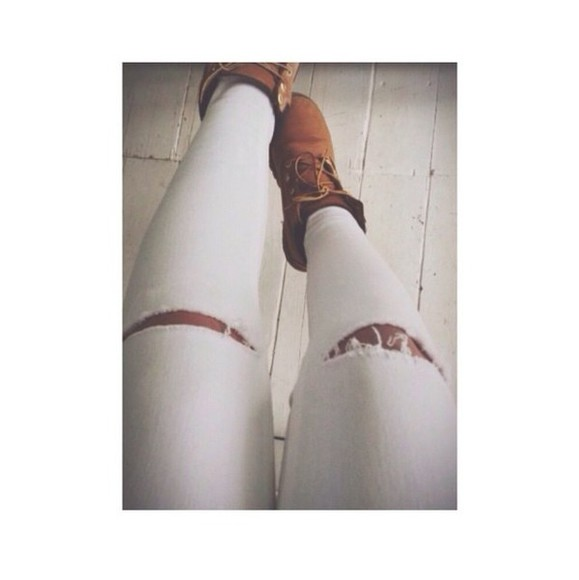 jeans ripped jeans white jeans fashion timberlands