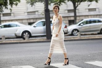dress jeanne damas fashionista summer dress summer outfits midi dress white dress mesh dress high heel sandals sandals black sandals