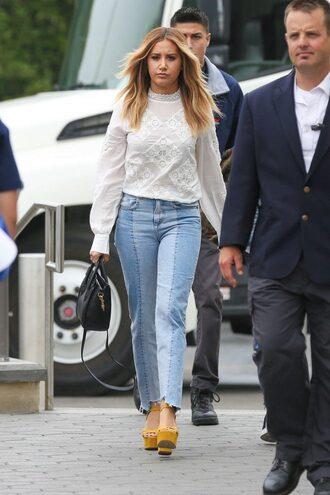 jeans blouse ashley tisdale sandals platform sandals long sleeves white blouse