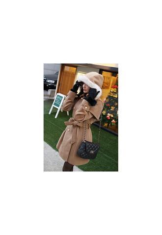 coat brown coat fur coat hood coat military style