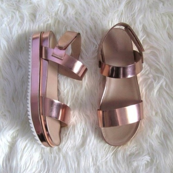 shoes rose gold sandals gladiator sandals