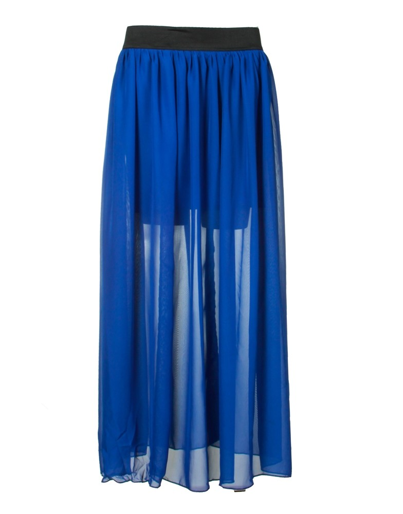 elastic waist royal blue chiffon maxi skirt