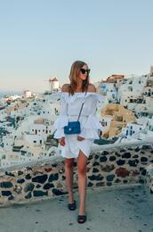 vogue haus,blogger,dress,bag,sunglasses,chanel bag,slide shoes,summer outfits,white dress