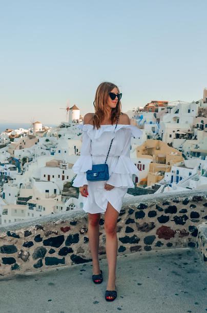 vogue haus blogger dress bag sunglasses chanel bag slide shoes summer outfits white dress