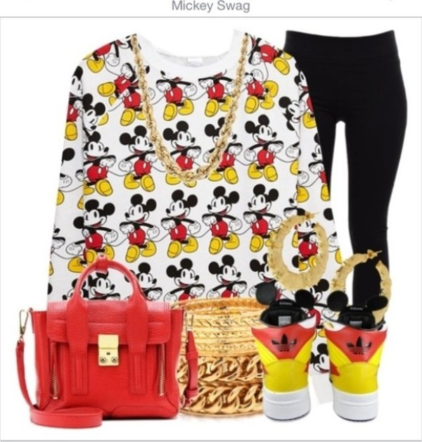 shirt mickey mouse swag gotta have it mickey bae sorry minnie pants jewels bag shoes