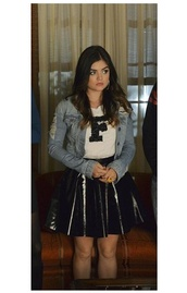 skirt,top,lucy hale,aria montgomery,pretty little liars,jacket
