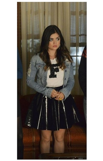 skirt top lucy hale aria montgomery pretty little liars jacket