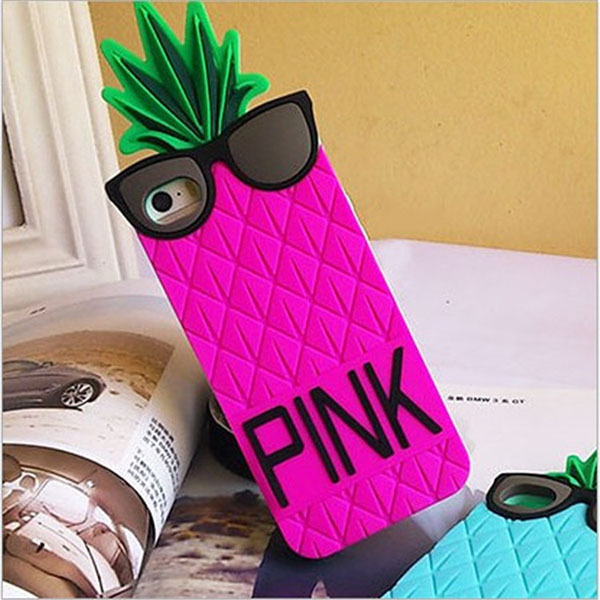 New Luxury Brand VS PINK 3D Silicon Fruit Pineapple Star's Love Soft Case For Iphone 4 4S Original Free Shiping-in Phone Bags & Cases from Electronics on Aliexpress.com