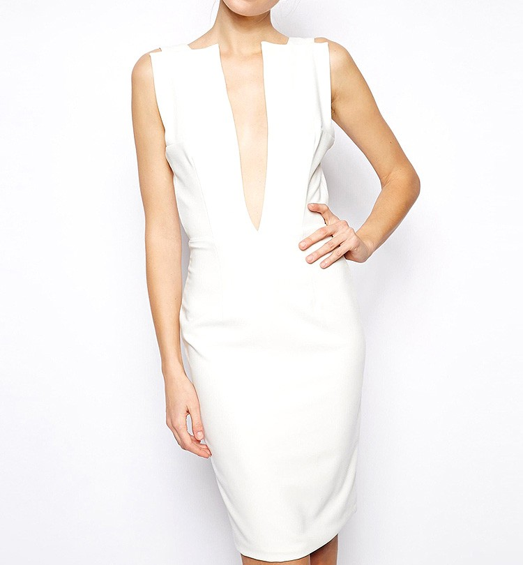 Dress With Plunge Neckline And Scoop Back