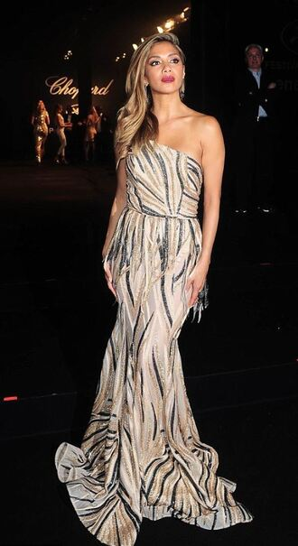 dress gown one shoulder prom dress nicole scherzinger cannes