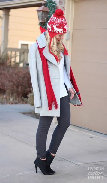 living in color print jeans sweater coat shoes scarf hat