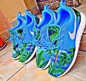 shoes,light blue,palm tree print,nike,nike running shoes,nike roshe run,roshe runs,hat,palms,trainers,sports shoes