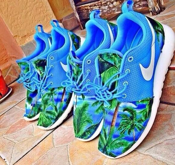 shoes trainers runners nike roshe run nike nike running shoes nike roshe run light blue palm tree print hat palm tree print