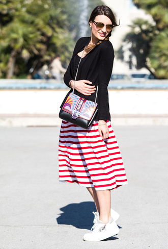 style and trouble blogger striped skirt shoulder bag