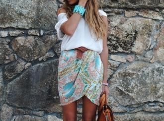 shirt colorful white skirt pattern wrap skirt