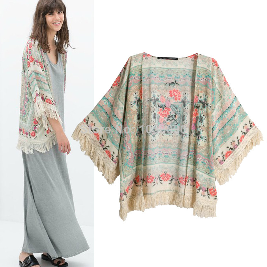 Aliexpress.com : Buy Spring Summer Women 2014 New Fashion Vintage Shawl Floral Pattern Loose Kimono With Long Tassel Coat Jacket ZA Brand Designer from Reliable shawl shrug suppliers on Vogue Official Online Shop
